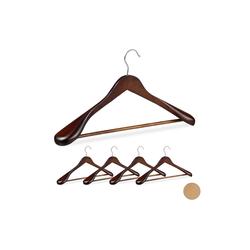 relaxdays Kleiderbügel Anzug Kleiderbügel 5er Set braun