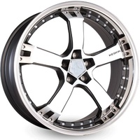 Keskin Tuning KESKIN KT10 Humerus matt black front polish steel lip 9.5x18 ET25 - LK5/100 ML63.4 Alufelge schwarz