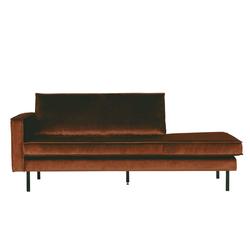 Couch Recamiere in Rostfarben Samtbezug