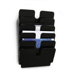 DURABLE Flexiplus 6 A4 Prospektspender, Prospekthalter bestehend aus sechs Fächern, 1 Set = 6 Prospektspender, Farbe: schwarz