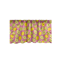 Scheibengardine Vorhang Volant für Küche Schlafzimmer Dekor mit Stangentasche, Abakuhaus, Zitronen Pop Citrus Scheiben Kunst 137 cm x 45 cm