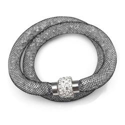 MyBeautyworld24 Wickelarmband Armband aus Netzschlauch zweireihig Glitzerkristallen u. Shamballa Kugel Wickelarmband grau