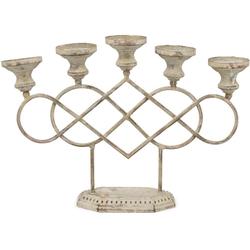 matches21 HOME & HOBBY Kerzenständer Kerzenständer 5 armig Antikoptik Metall beige 36 cm