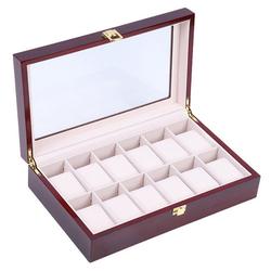 TOPMELON Uhrenbox, Uhrenkoffer für 12 Uhren Aufbewahrung für Uhren 31 cm x 8.5 cm x 21 cm