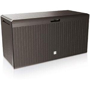 Deuba Auflagenbox Rato Plus, 106898, Kunststoff, braun, 114 x 60 x 47 cm, mit Rollen