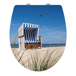 WENKO Premium WC-Sitz Hochglanz Acryl Strandkorb, Absenkautomatik, Fix-Clip Hygiene Befestigung