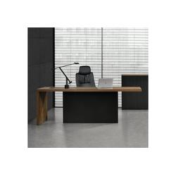 neu.haus Regal-Schreibtisch, Modell Vorstand Repräsentativer Chefzimmer Schreibtisch 220x80cm [Eiche smoked] MDF, furniert