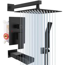 Rainsworth Duschsystem Eleganz, 1 Strahlart(en), Set, 30 CM Regendusch, Air Injection-Technology,Unterputz Duscharmatur Set, Regenduschkopf, 3-Funktion-Unterputz-Duschsystem, Unterputz Duscharmatur Set