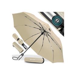 KESSER Taschenregenschirm, Regenschutz, Schirm sturmfest bis 150 km/h - inkl. Schirm-Tasche & Reise-Etui - Taschenschirm mit Auf-Zu-Automatik, klein - leicht & kompakt - Teflon-Beschichtung natur
