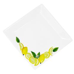 Lashuma Servierteller Zitrone, Keramik, Pastateller quadratisch, Servierplatte 19x19 cm