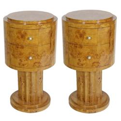 Casa Padrino Art Deco Beistelltisch Set Hellbraun Ø 40 x H. 75 cm - Runde Wurzelholz Beistelltische mit 2 Schubladen - Luxus Qualität