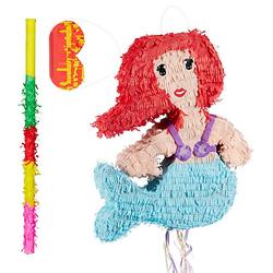 3 tlg. Pinata Set Meerjungfrau, Pinata Stock   Augenbinde, Party Piñata, Kinder blau