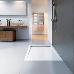 HSK Acryl-Duschwannen-Set mit integrierter Ablaufrinne, superflach 90 × 140 × 6,5 cm… Weiß