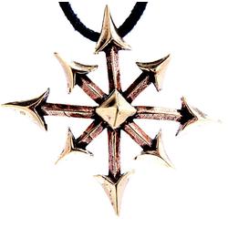 Kiss of Leather Kettenanhänger großer Chaosstern Chaos Star Bronze Anhänger Amulett Fantasy LARP Magie