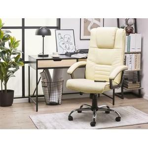 Chefsessel mit Massage Luxus Massagesessel Leder creme weiß bequemer Ledersessel