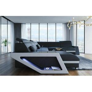 Sofa Wohnlandschaft Leder Couch CATANIA XXL Modern Design Ledersofa Ottomane LED