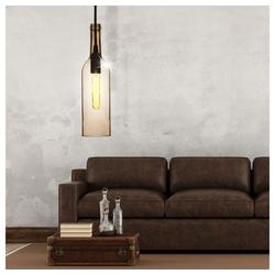 etc-shop LED Pendelleuchte, Glas Decken Lampe braun Wohn Zimmer Tageslicht Flaschen Pendel Leuchte im Set inkl. LED Leuchtmittel