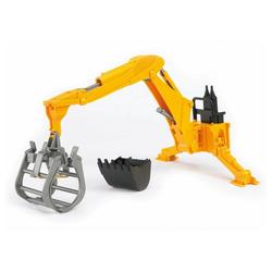 Bruder® Spielzeug-Bagger Zubehör - Heckbagger mit Greifer - gelb