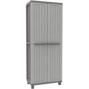 Terry, JWood 368, Besenschrank mit 2 Türen in Holz-Optik, Innenregal mit 4 Einlegeböden, für den Innen-und Außenbereich. Farbe: Grau/Taubengrau, Material: Kunststoff, Abmessungen: 68x37,5x170 cm
