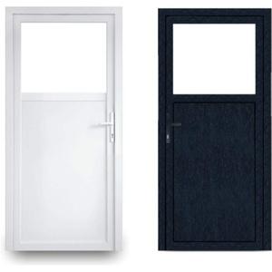 EcoLine Nebentür - Nebeneingangstür - Tür - 2-Fach, 1/3 Glas, 2/3 Füllung, außenöffnend innen: weiß/außen: anthrazit BxH: 800 x 2000 mm DIN Rechts