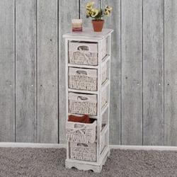 Regal Kommode mit 5 Korbschubladen 90x25x28cm, Shabby-Look, Shabby-Chic, Vintage ~ weiß