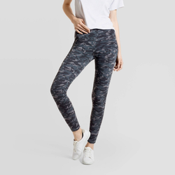 Hue Studio Women's Camo Print Mid-Rise Cotton Comfort Cell Phone Side Pocket Leggings - Gray L