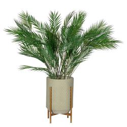 Pflanzentöpfe für Kunstblumen Beton Grau und Goldfarben (3er Set)