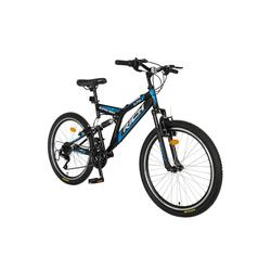 RICH Mountainbike, 24 Zoll Jugendfahrrad Mountainbike Kinder Fahrrad, 18 Gang,Rahmen aus Stahl, V-Brake, 17 Zoll Rahmen MTB,Vollfederung