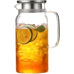 Pywee Teekanne Glas Teebereiter, 12/1.8L Wasserkrug Glaskaraffe Borosilikatglas Krug Edelstahl Deckel mit Sieb für Heiß/Kaltsaft EIS Getränke Tee, Milch, Kaffee und Rotwein