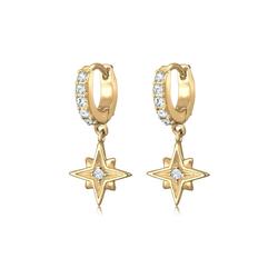 Ohrringe Creole Astro Star  Kristalle 925 Silber Elli Gold