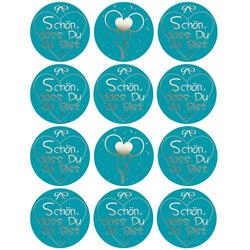 12 Sticker Schön, dass Du da bist Aufkleber zum Danke sagen für Gastgeschenk Geschenkdeko blau