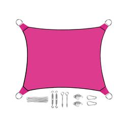 PEREL Sonnensegel, rechteckig 2x3m & 3x4m mit Ösen-Befestigung für Terrasse Balkon & Garten Sonnenschutz-Segel rosa