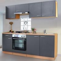 Respekta Küchenzeile Economy Buche E-Geräte 210 cm grau mit Edelstahlkochmulde