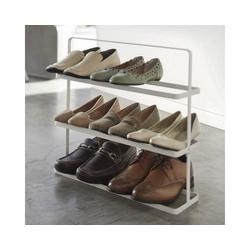 Yamazaki Schuhregal Tower, Schuhablage, für 8 bis 9 Paar Schuhe, freistehend, tragbar weiß