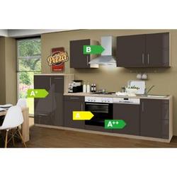 Menke Küchen Küchenzeile Premium Lack 310 cm Lava - 4 Platten Kochfeld