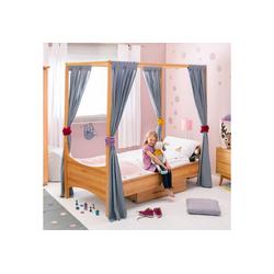 BioKinder - Das gesunde Kinderzimmer Kinderbett Noah, Himmelbett mit Lattenrost Erle