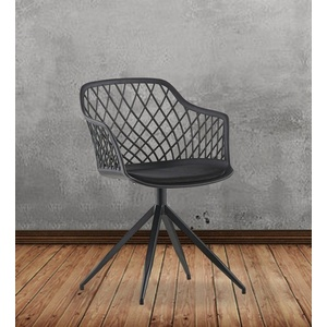 KAWOLA Esszimmerstuhl EMILIE, Stuhl Kunststoff drehbar mit Kissen versch. Farben schwarz