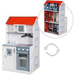 roba® Spielküche, Spielhaus 2-in-1, Feuerwehr Holz, mit mehrstöckigem Puppenhaus