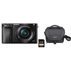 Sony Alpha ILCE-6000L Systemkamera (SEL-P1650, 24,3 MP, WLAN (Wi-Fi), NFC, Gesichtserkennung, HDR-Aufnahme, Makroaufnahme) grau