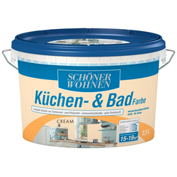 SCHÖNER WOHNEN FARBE Feuchtraumfarbe Küche/Badfarbe, cream, 2,5 l natur