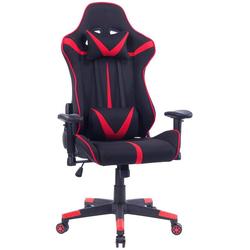 Woltu Gaming-Stuhl Bürostuhl aus Stoffbezug mit Kopf und Lendenkissen rot