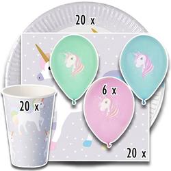 """Party-Set """"Einhorn"""" (66-teilig: Servietten, Teller, Becher, Luftballons), tradingbay24 (tbK0017)"""