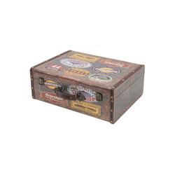 HMF Aufbewahrungsbox Vintage Koffer, aus Holz, Deko Garage, 44 x 32 x 16 cm
