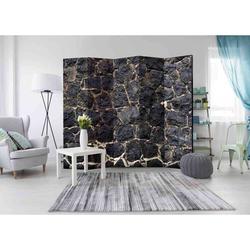 Paravent in dunkel Grau Steinmauer Motiv