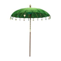 Oriental Galerie Sonnenschirm Balinesische Sonnenschirme Variante 180 cm Ø, Handarbeit grün