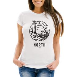 Neverless Print-Shirt Damen T-Shirt Logo Outline Art maritim Leuchtturm Welle Aufdruck North Slim Fit Neverless® mit Print weiß XS