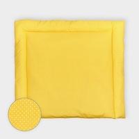 KraftKids Wickelauflage weiße Punkte auf Gelb, extra Weich (500 g/qm), mit antiallergenem Vlies gefüllt 75 cm x 70 cm