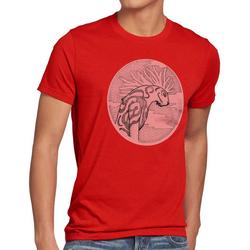 style3 Print-Shirt Herren T-Shirt Dot Waldgott wolf prinzessin anime mononoke japan rot 4XL