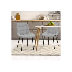 Merax Polsterstuhl 2 Stk.Esszimmerstühle, Wohnzimmerstuhl Sessel Stoffkissen-Akzentstühle, Macaron-Farben grau
