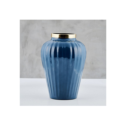 carla&marge Dekovase Selkone, 20x30 cm, aus Eisen mit blauer Emaille
